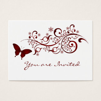 Invitación roja del boda de la mariposa