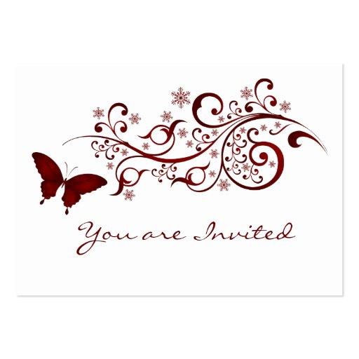 Invitación roja del boda de la mariposa plantillas de tarjeta de negocio