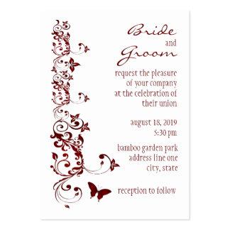 Invitación roja del boda de la mariposa plantillas de tarjetas de visita