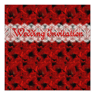 Invitación roja del boda de Lillies