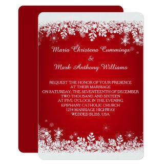 Invitación roja del boda del invierno del copo de