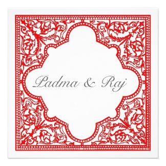 Invitación roja del boda del marco del vintage