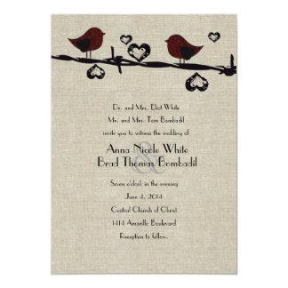 Invitación roja del boda del país del alambre de