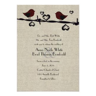 Invitación roja del boda del país del alambre de B