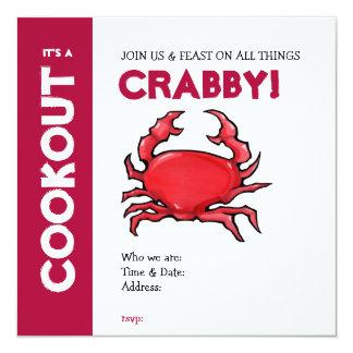 Invitación roja del Cookout del cangrejo