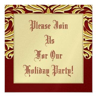 Invitación roja del día de fiesta de la voluta del