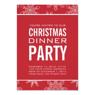 Invitación roja del fiesta de cena de navidad
