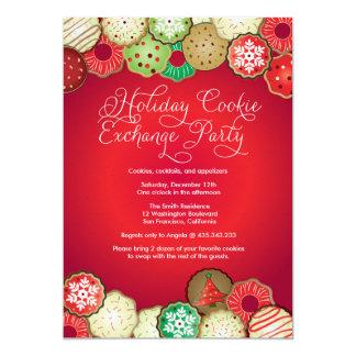 Invitación roja del fiesta del intercambio de la