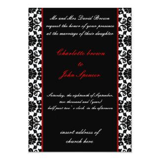 invitación roja elegante del boda del damasco
