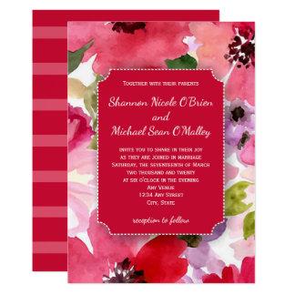 Tarjeta Invitación roja floral moderna del boda de la