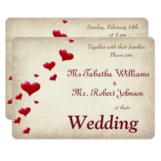 Invitación roja linda del boda de la impresión de