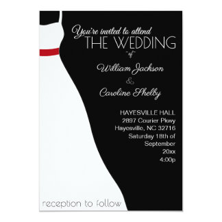 Invitación roja negra moderna del boda del vestido