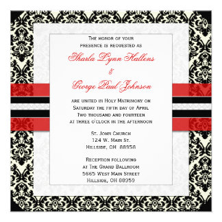 Invitación roja negra y blanca del boda del dama