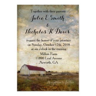 Invitación roja rústica del boda del granero