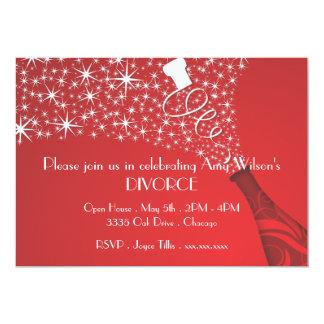 Invitación roja y blanca del divorcio de Champán Invitación 12,7 X 17,8 Cm