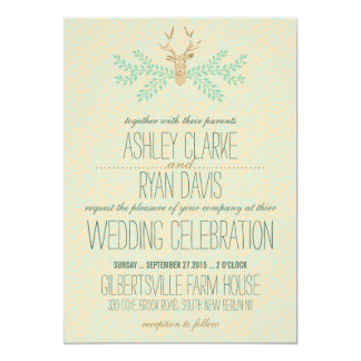 Invitación romántica del boda de la asta rústica invitación 12,7 x 17,8 cm