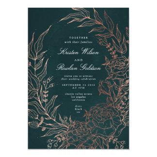 Invitación romántica del boda del cobre de la