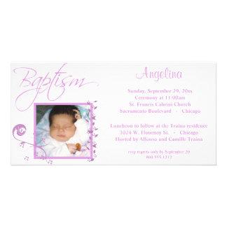 Invitación rosa clara de la foto del bautismo tarjetas fotograficas personalizadas