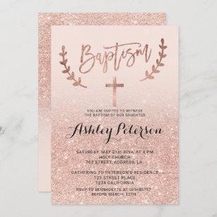 Invitación Rosa de oro falso purpurina rosa oscuro bautismo d