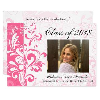 Invitación rosada 2018 de la graduación de la foto