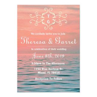 Invitación rosada, azul y púrpura de la playa de