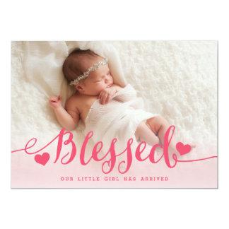 Tarjeta Invitación rosada bendecida del nacimiento de la