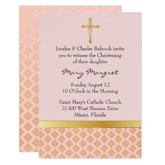 Invitación rosada coralina elegante del bautizo