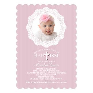 Invitación rosada cruzada de la foto del bautismo invitación 12,7 x 17,8 cm