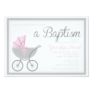 Invitación rosada cruzada del bautismo del chica invitación 12,7 x 17,8 cm