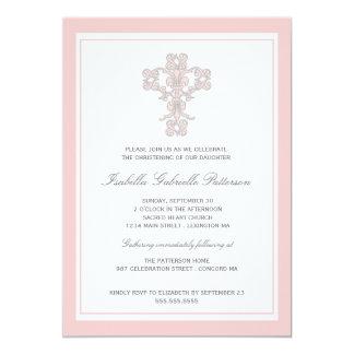 Invitación rosada cruzada elegante del bautizo del