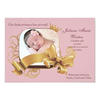 Invitación rosada cuadrada real del nacimiento de
