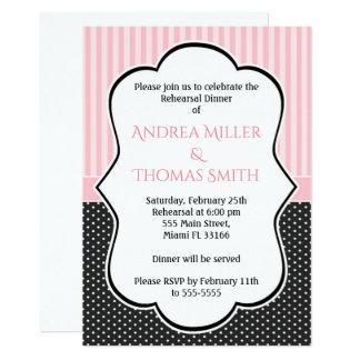 Invitación rosada de la cena del ensayo de las