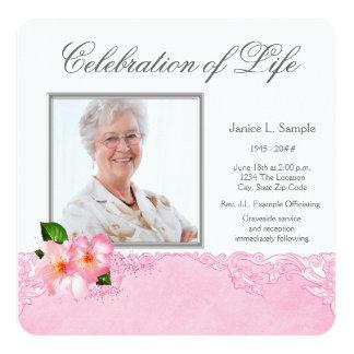 Invitación rosada de la ceremonia conmemorativa de