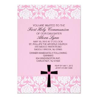 Invitación rosada de la comunión del corazón del
