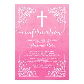 Invitación rosada de la confirmación de la cruz de