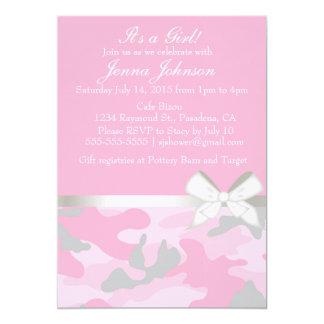 Invitación rosada de la ducha de la niña de Camo Invitación 12,7 X 17,8 Cm