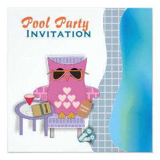 Invitación rosada de la fiesta en la piscina del