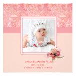 Invitación rosada de la foto del bebé de Paisley