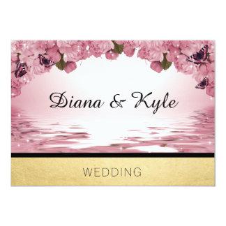 Invitación rosada de la plantilla del boda del oro