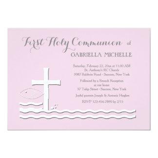 Invitación rosada de la primera comunión invitación 12,7 x 17,8 cm
