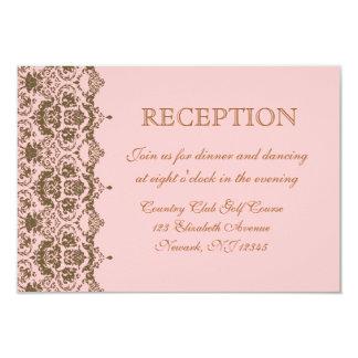 Invitación rosada de la recepción nupcial del