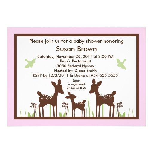 Invitación rosada de los ciervos del sauce/de la f