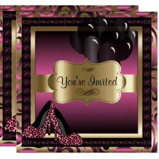 Invitación rosada de los tacones altos del