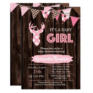 Invitación rosada de madera rústica de la fiesta
