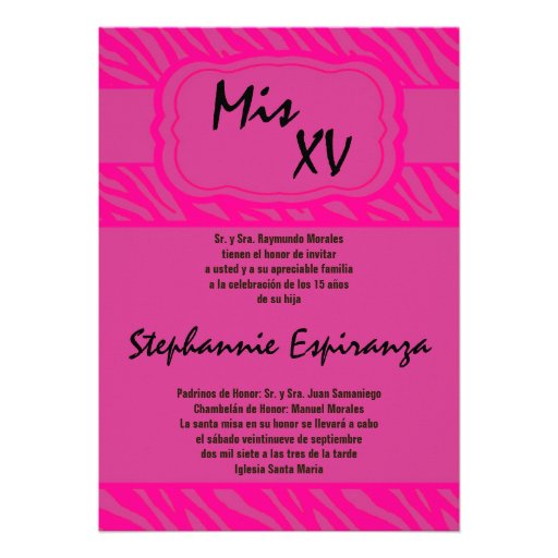 invitación rosada de Quinceanera 15 del estampado