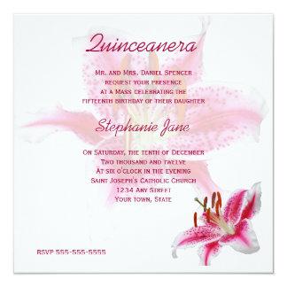 Invitación rosada de Quinceanera del Stargazer