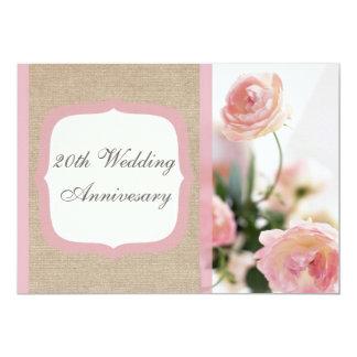 Invitación rosada del aniversario de boda de la