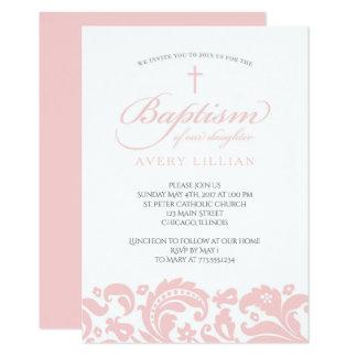 Invitación rosada del bautismo del damasco