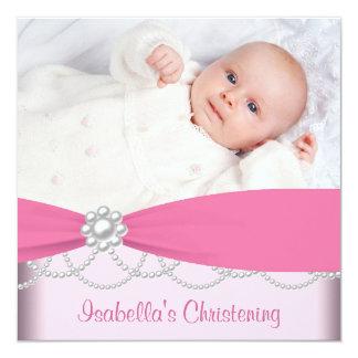 Invitación rosada del bautizo de la foto de los