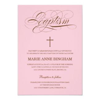 Invitación rosada del bautizo de la invitación el